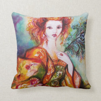 ROMANTIC WOMAN WITH SPARKLING PEACOCK FEATHER CUSHION