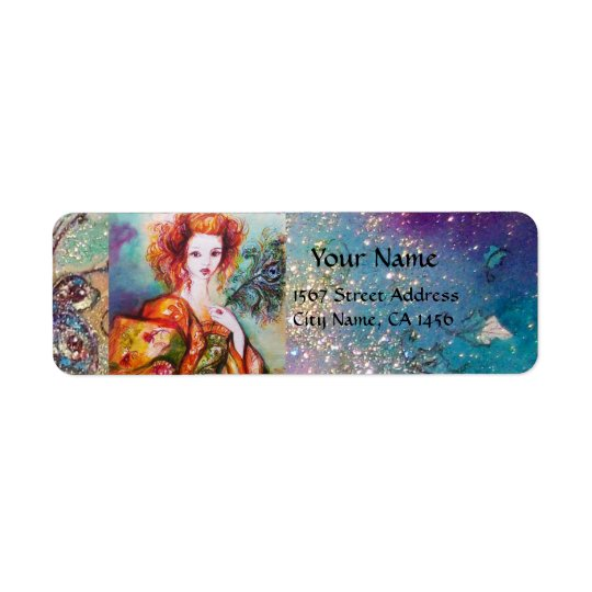 ROMANTIC WOMAN WITH SPARKLING PEACOCK FEATHER RETURN ADDRESS LABEL