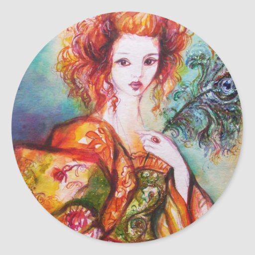 ROMANTIC WOMAN WITH SPARKLING PEACOCK FEATHER STICKER