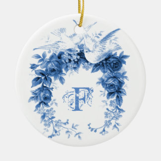 Romantic Wreath•Doves Ceramic Ornament