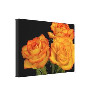 Romantic Yellow Orange Roses Flowers Wall Art