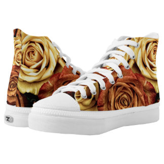 Romantic yellow Rose High Top Shoes Printed Shoes
