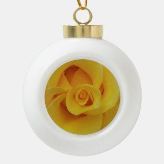 Romantic Yellow Rose Petals Ceramic Ball Christmas Ornament