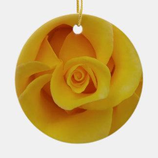Romantic Yellow Rose Petals Ceramic Ornament