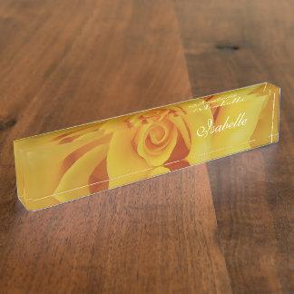Romantic Yellow Rose Petals Name Plate