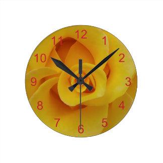 Romantic Yellow Rose Petals Round Clock
