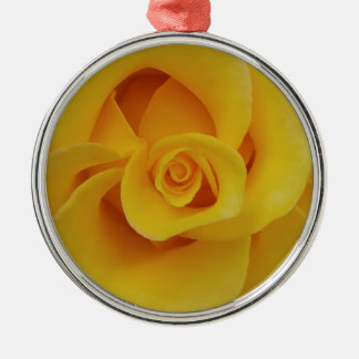 Romantic Yellow Rose Petals Silver-Colored Round Decoration