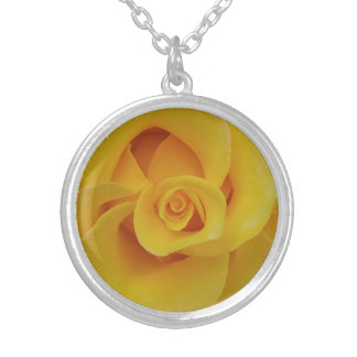 Romantic Yellow Rose Petals Silver Plated Necklace