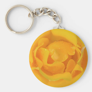 Romantic Yellow Rose Water Drops Key Ring