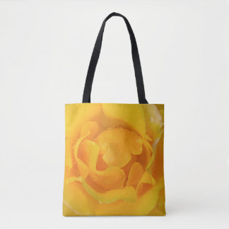 Romantic Yellow Rose Water Drops Tote Bag