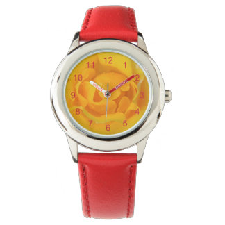 Romantic Yellow Rose Water Drops Wristwatches