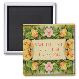Romantic Yellow Roses Pink Daisies Square Magnet