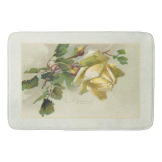 Romantic Yellow Vintage Roses Bath Mat