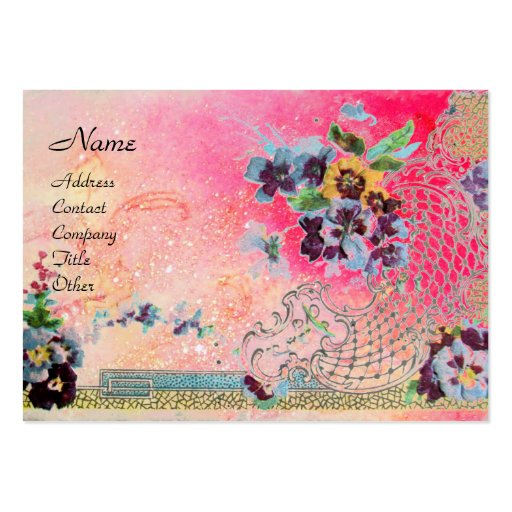 ROMANTICA 2 / Beautiful Pansies in Pink and Blue Business Cards