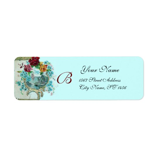 ROMANTICA 3 MONOGRAM blue Return Address Label