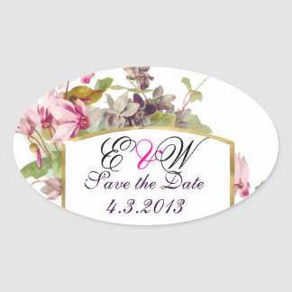 ROMANTİCA MONOGRAM / PINK CYCLAMENS SAVE THE DATE OVAL STICKERS