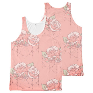 Romantically Pink ~ A Rose Floral Pattern Gift All-Over Print Singlet
