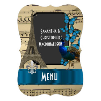 Romatic Paris and music sheet wedding menu 13 Cm X 18 Cm Invitation Card