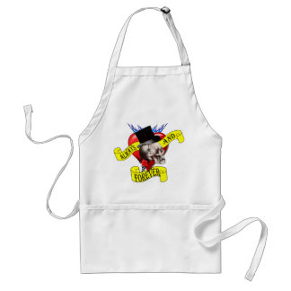 Romatic skull and heart tattoo design aprons