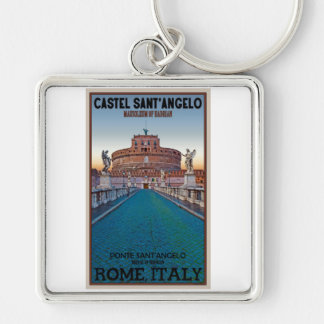 Rome - Castel Sant'Angelo Silver-Colored Square Key Ring