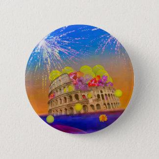 Rome celebrates season with tennis balls, flowers 6 cm round badge