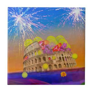 Rome celebrates season with tennis balls, flowers ceramic tile