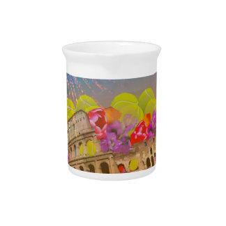 Rome celebrates season with tennis balls, flowers pitcher