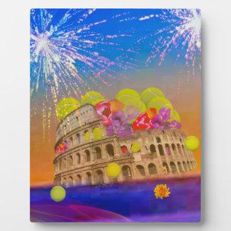 Rome celebrates season with tennis balls, flowers plaque