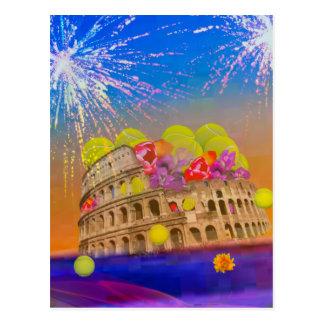 Rome celebrates season with tennis balls, flowers postcard