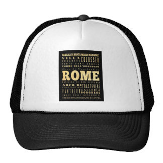 Rome City of Italy Typography Art Trucker Hats