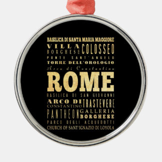 Rome City of Italy Typography Art Silver-Colored Round Decoration