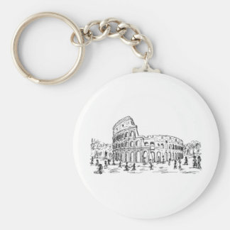 rome colosseum basic round button key ring