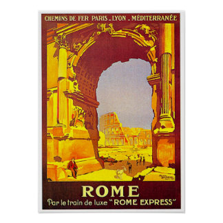 Rome Express Railway Vintage Italy Travel Poster
