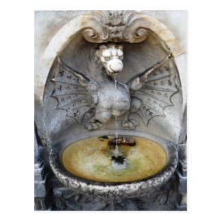 Rome Fountain Dragon Ancient Water Italy Monument Postcard