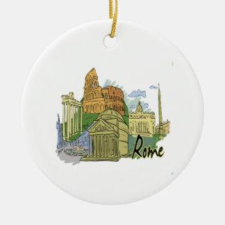 rome graphic travel image.png ceramic ornament
