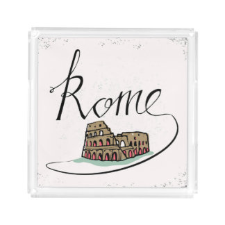 Rome Hand Lettered Design Acrylic Tray