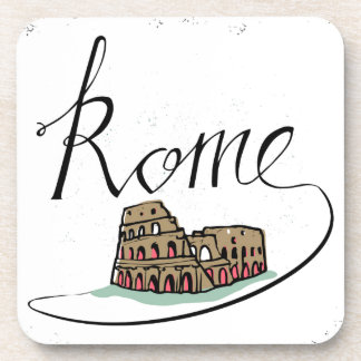 Rome Hand Lettered Design Coaster
