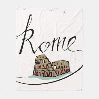 Rome Hand Lettered Design Fleece Blanket