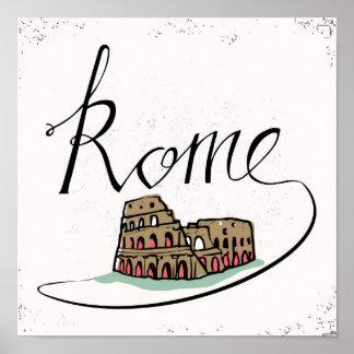 Rome Hand Lettered Design Poster