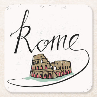 Rome Hand Lettered Design Square Paper Coaster