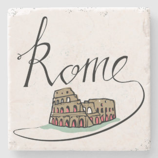 Rome Hand Lettered Design Stone Beverage Coaster