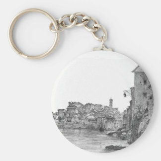 Rome in the Morning by Mikhail Lebedev Basic Round Button Key Ring
