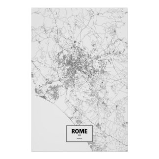 Rome, Italy (black on white) Poster