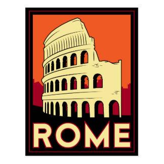 rome italy coliseum europe vintage retro travel postcard