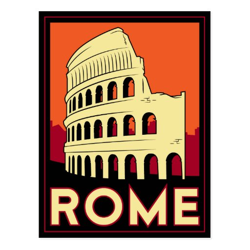 rome italy coliseum europe vintage retro travel post card