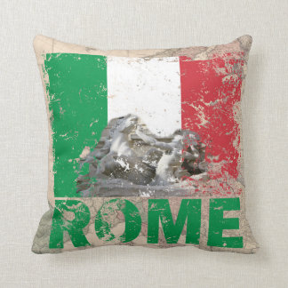 Rome Italy Distressed Flag on Vintage Europe Map Cushion