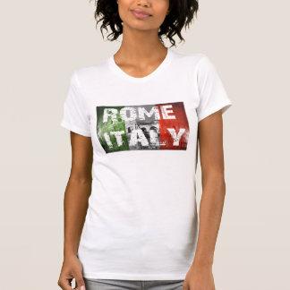 Rome Italy Flag over Coliseum Tee Shirts
