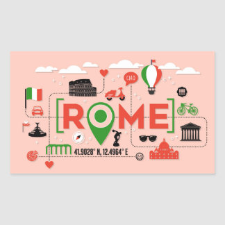 Rome, Italy Iconic Symbols Rectangular Sticker