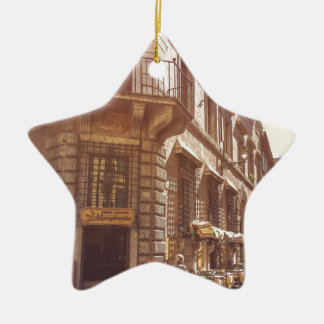 Rome Italy Italian Grocery Getter Bike Cobblestone Ceramic Star Decoration