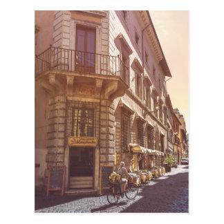 Rome Italy Italian Grocery Getter Bike Cobblestone Postcard
